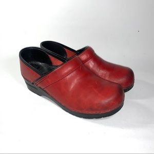 Dansko Leather Red Clogs size 39